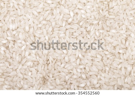 White long rice background, uncooked raw cereals, macro closeup