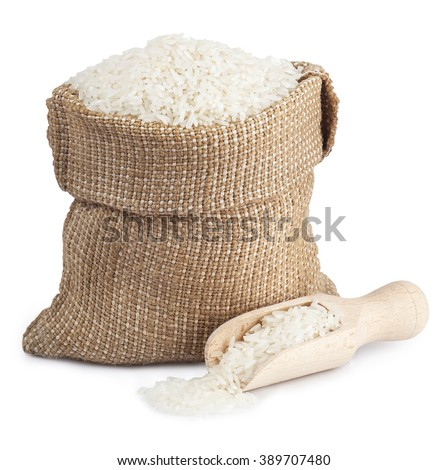White long rice in a sack and wooden scoop  isolated on white background