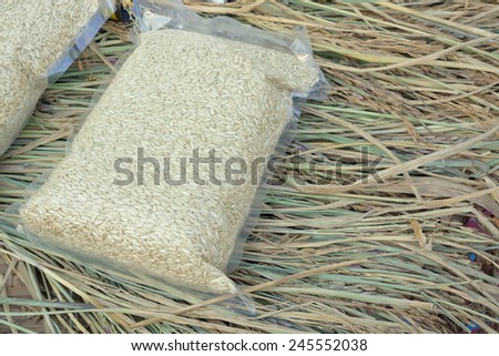White long rice in weather or environment sealed or Vacuum plastic bag over the Paddy Background - stock photo