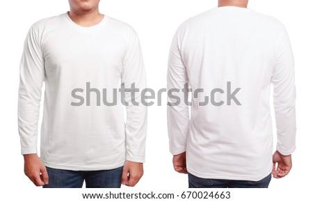 White Long Sleeved Tshirt Mock Up Stock Photo 670024663 - Shutterstock