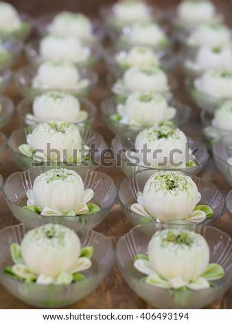 white Lotus for worship at Temple, Wat Rai Khing, Nakhon Pathom, Thailand (vertical) - stock photo