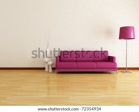 white lounge with purple fabric couch - stock photo
