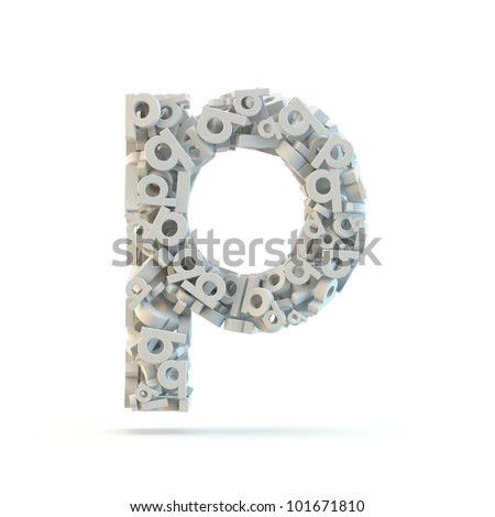 White lowercase letter p isolated on white. Part of high resolution graphical alphabet set. - stock photo