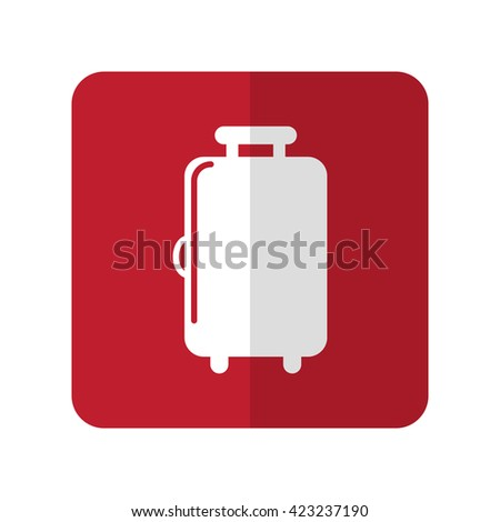White Luggage flat icon on red rounded square on white - stock photo
