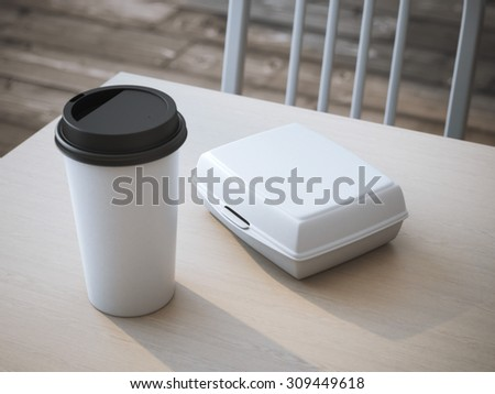 White lunch box with paper cup of coffee. 3d rendering - stock photo