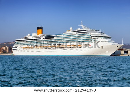 white luxury cruise ship - stock photo