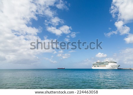 White Luxury Cruise Ship Docked at St Croix