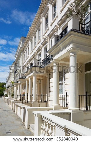 White luxury houses facades in London, perspective view - stock photo