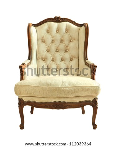 White luxury leather armchair isolated on white background