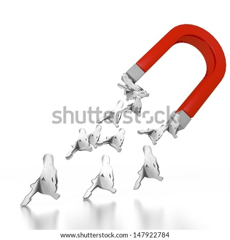 White  magnetic dance 3d graphic with sexy sexy woman icon attracted by an magnet - stock photo