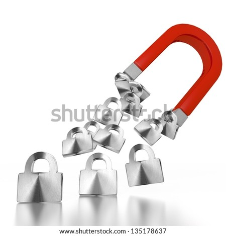 White  magnetic lock 3d graphic with magnetic secure sign attracted by an magnet