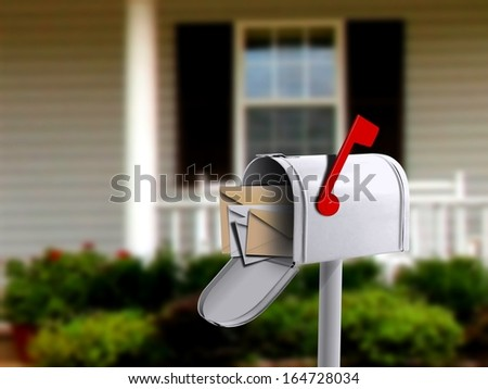 White Mail Box in Front of a House - stock photo