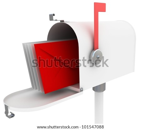 white mail box with special red letter. 3D illustration isolated on white - stock photo