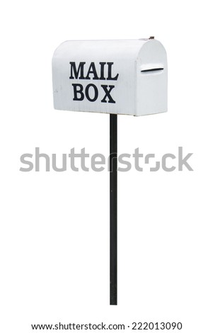 White mailbox isolated on white. - stock photo