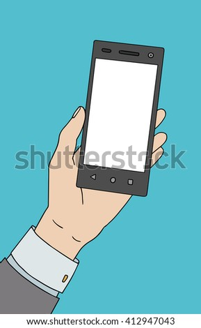 White man hand with smartphone. Nice raster illustration.