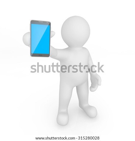 White man holding mobile device with clipping path.
