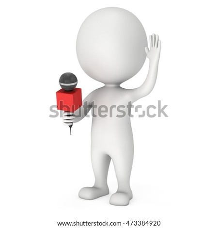 White man hosting show and talking into microphone. Wave hello. 3d render illustration isolated on white background.