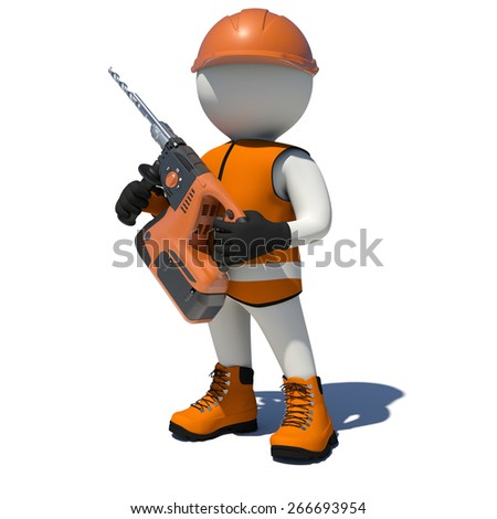 White man in vest, shoes and helmet holding electric perforator. Isolated render on white background