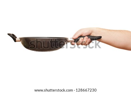white man is holding a frying pan on a white background - stock photo