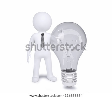 White man next to an incandescent lamp. Isolated render on a white background