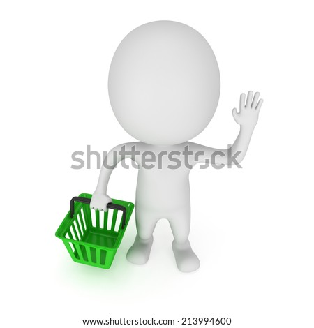 White man stand with green shop basket raised one's hand for greeting. 3d render isolated on white. Sales, market, shop concept.