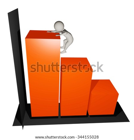 white man standing on a chart - stock photo