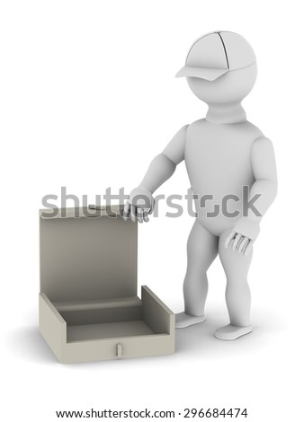 White man with an open empty box in his hands on a white background