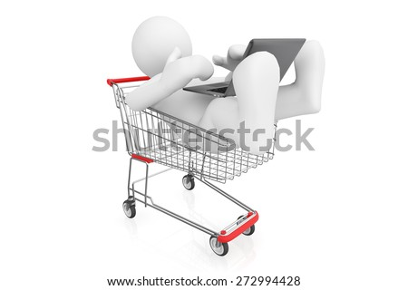 White man with laptop in shopping cart isolated on white with clipping path, online shopping concept. - stock photo