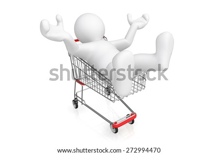 White man with shopping cart isolated on white with clipping path.