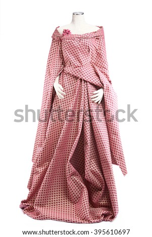 White mannequin with fabric isolated on white background