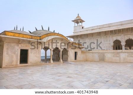 White marble palace, Agra fort, India - stock photo