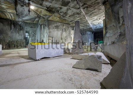 White marble quarries of Carrara in the Apuan Alps. Italy
