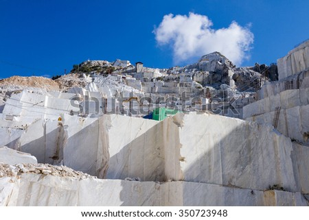 White marble quarry of Carrara, Tuscany, Italy - stock photo