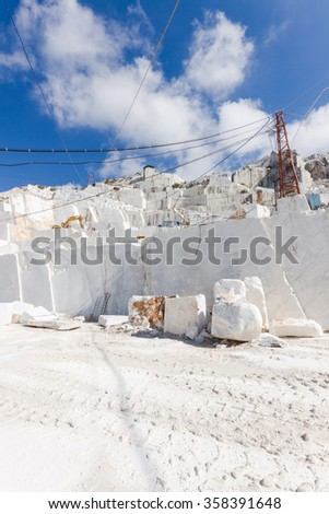 White marble quarry working site in Carrara, Tuscany, Italy - stock photo