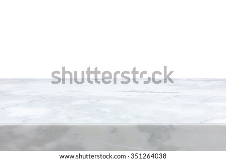 White marble stone table top isolated on white background - can be used for display or montage your products - stock photo