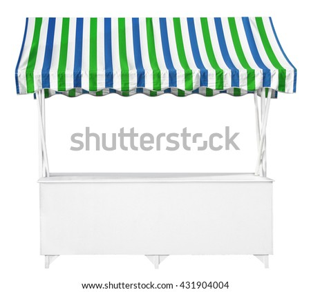 White market stall with blue green striped awning - stock photo