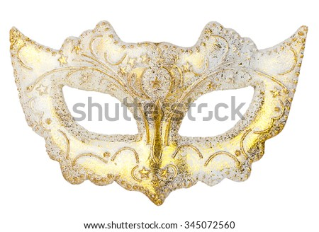 White Mask decoration on Christmas tree isoloated on white background - stock photo