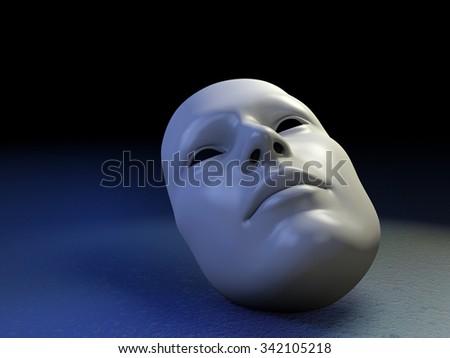 White mask on a dimly lit background. Digital illustration. - stock photo
