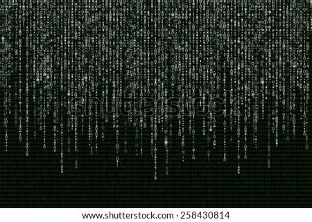white matrix on the background of green binary code. - stock photo