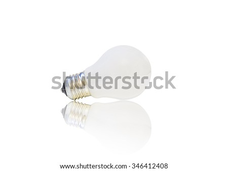 white matte light bulb, isolated on white background with reflection - stock photo