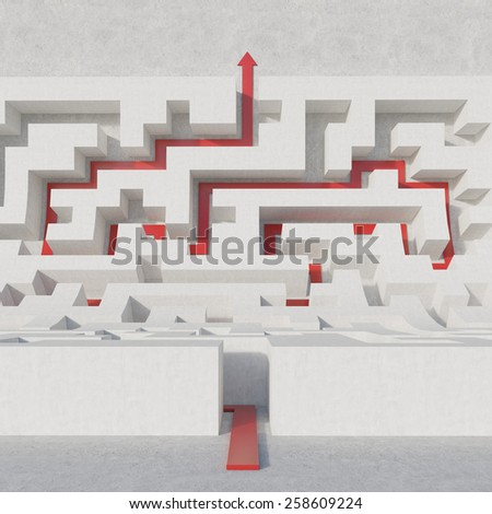white maze bend with red arrow - stock photo
