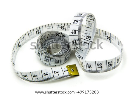White Measure tape. Isolated over white
