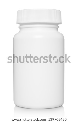 White medical container on white background   - stock photo