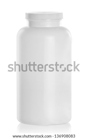 White Medical Drugs Tablets Capsules Plastic Bottle. Isolated over white background
