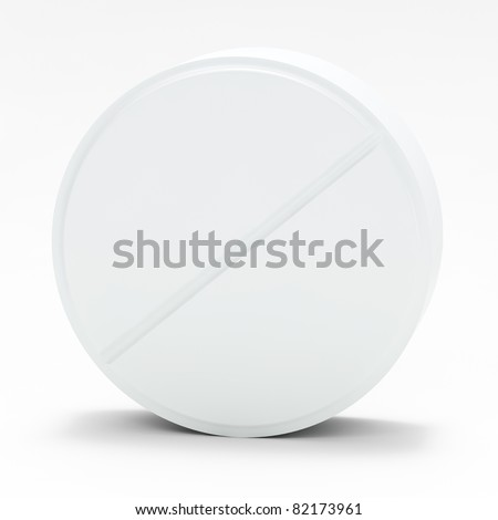White medical pill on white background, with shadow - stock photo