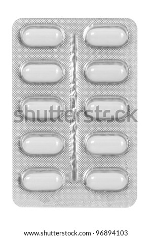 white medical pills in blister pack isolated on white background - stock photo