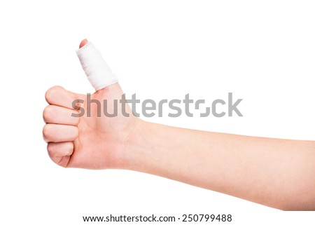 White medicine bandage on injured finger on white background. - stock photo