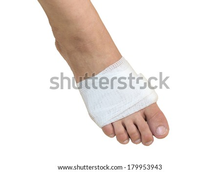 White medicine bandage on injury foot with white background, isolate