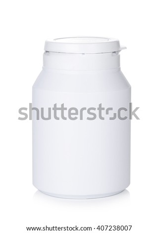 white medicine bottles on white background