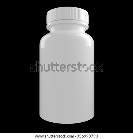 White Medicine Pill Bottle isolated on black background - stock photo